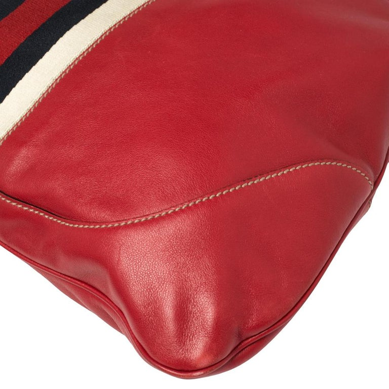 Gucci Red Leather And Canvas Web Jackie O Bouvier Hobo For Sale 2