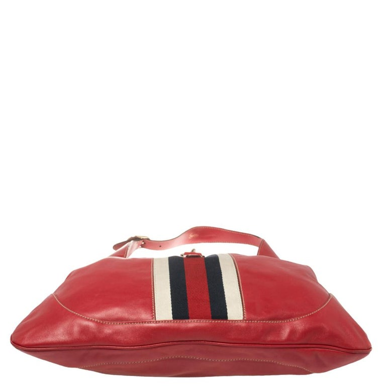 Gucci Red Leather And Canvas Web Jackie O Bouvier Hobo For Sale 3