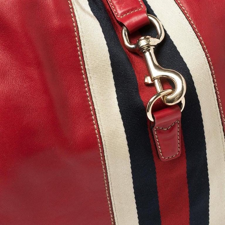 Gucci Red Leather And Canvas Web Jackie O Bouvier Hobo For Sale 4