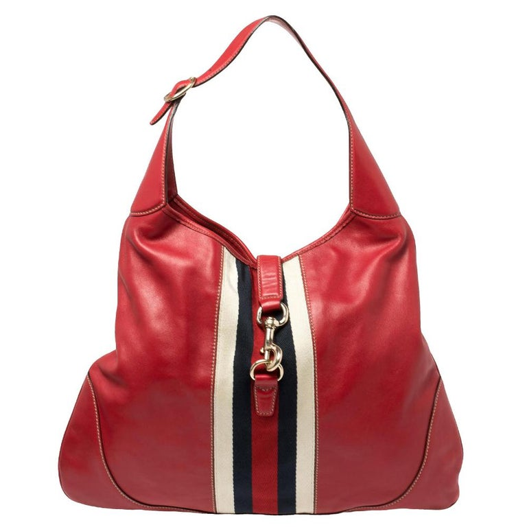 Gucci Red Leather And Canvas Web Jackie O Bouvier Hobo For Sale