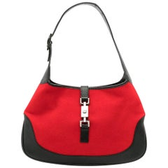Gucci Red Leather and Felt Jackie Bag