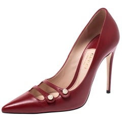 Gucci Red Leather Aneta GG Buttons Pointed Toe Pumps Size 36.5