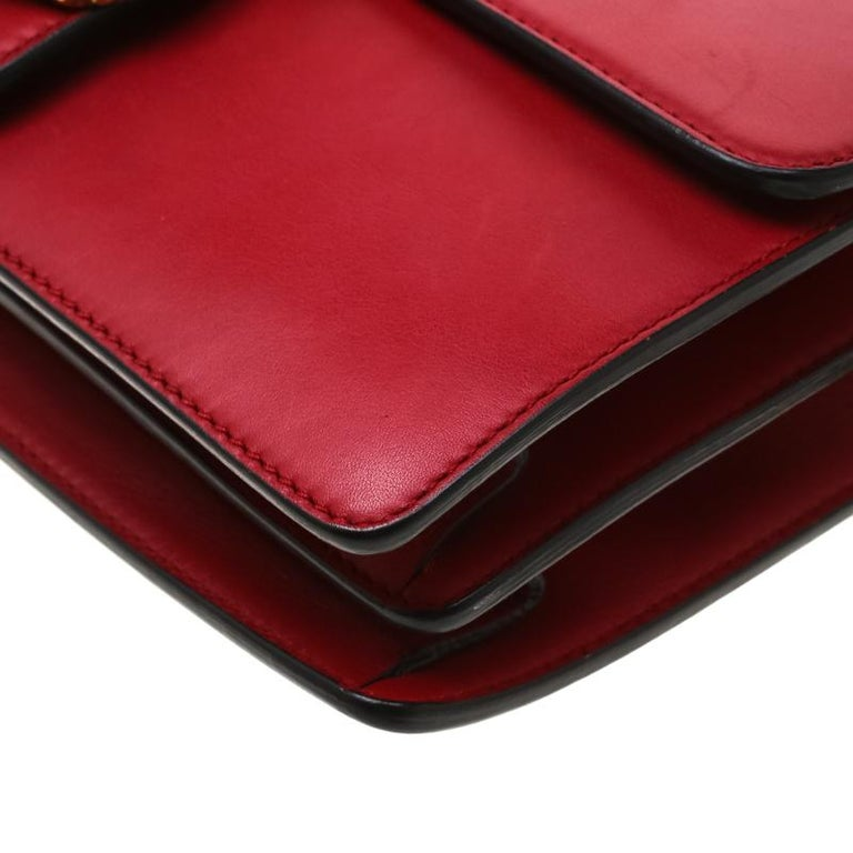 Gucci Red Leather Animalier Shoulder Bag For Sale 6