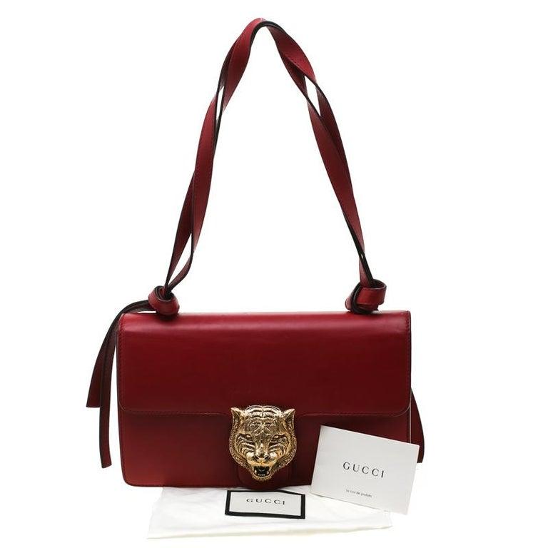 Gucci Red Leather Animalier Shoulder Bag For Sale 8