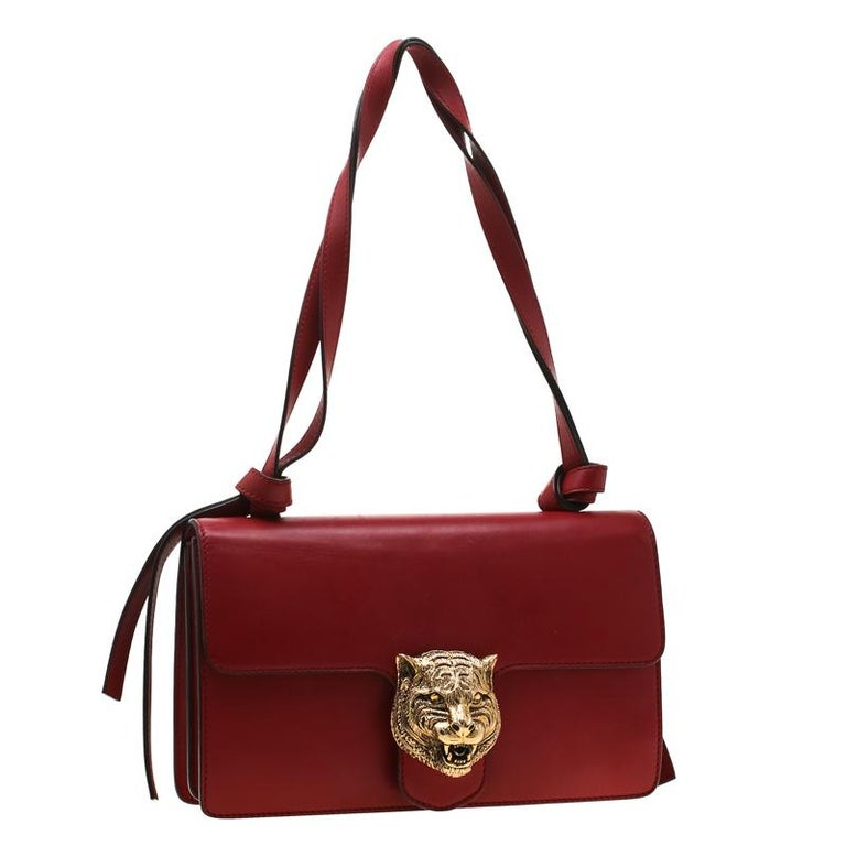 Women's Gucci Red Leather Animalier Shoulder Bag For Sale