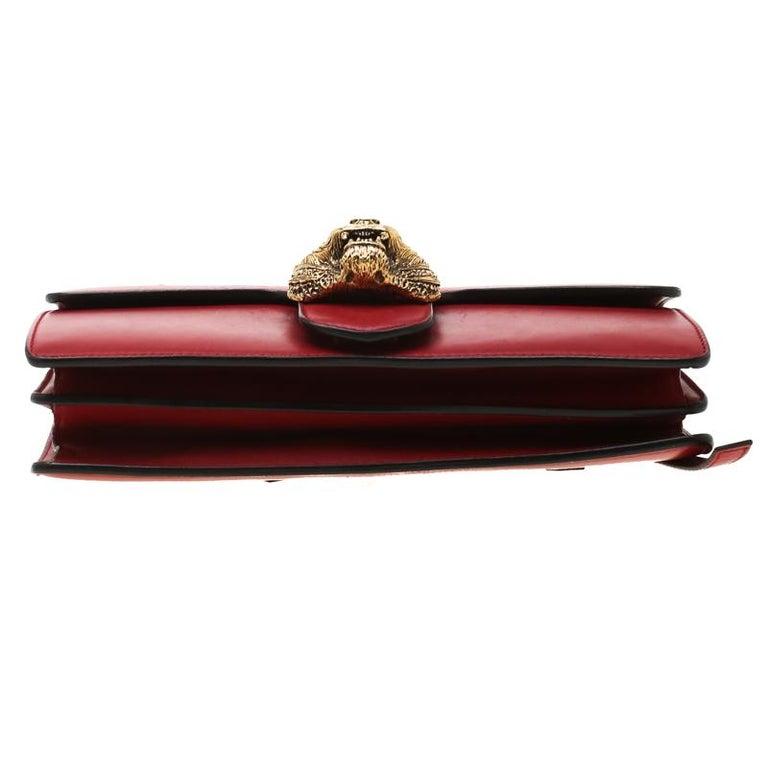 Gucci Red Leather Animalier Shoulder Bag For Sale 1