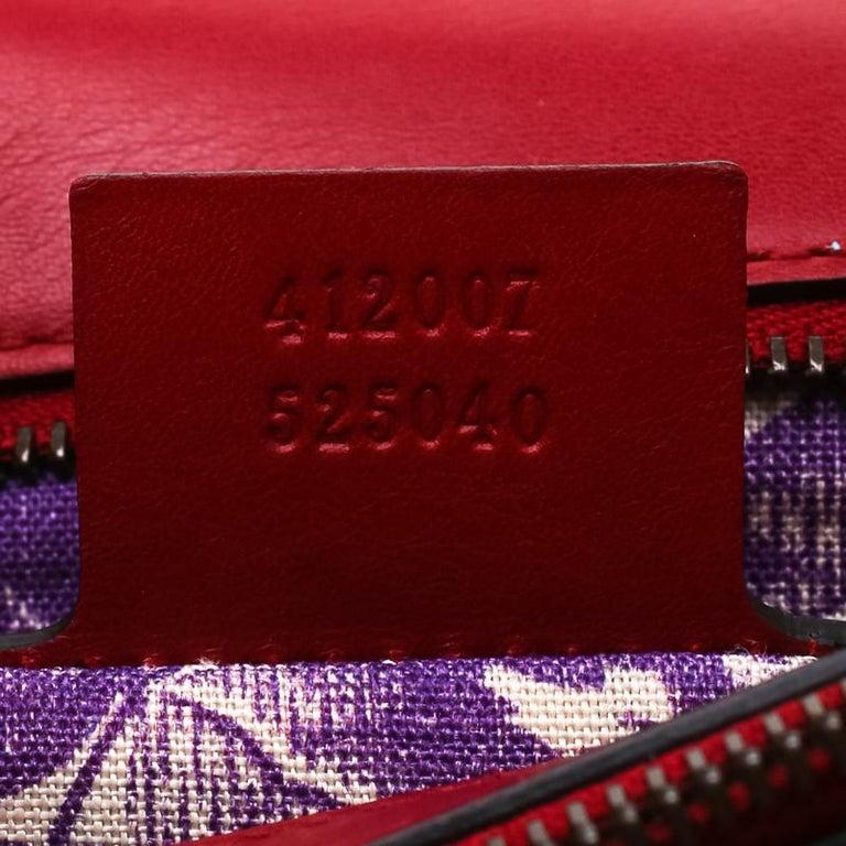 Gucci Red Leather Animalier Shoulder Bag For Sale 2