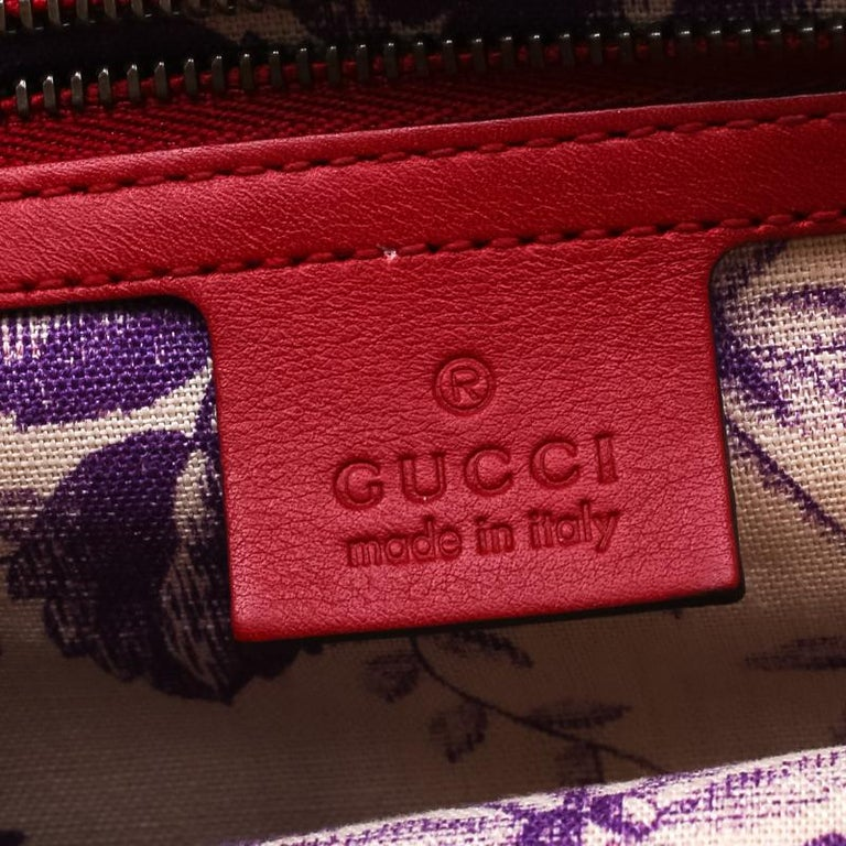 Gucci Red Leather Animalier Shoulder Bag For Sale 3