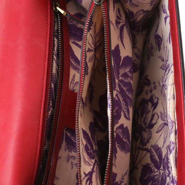 Gucci Red Leather Animalier Shoulder Bag For Sale 4