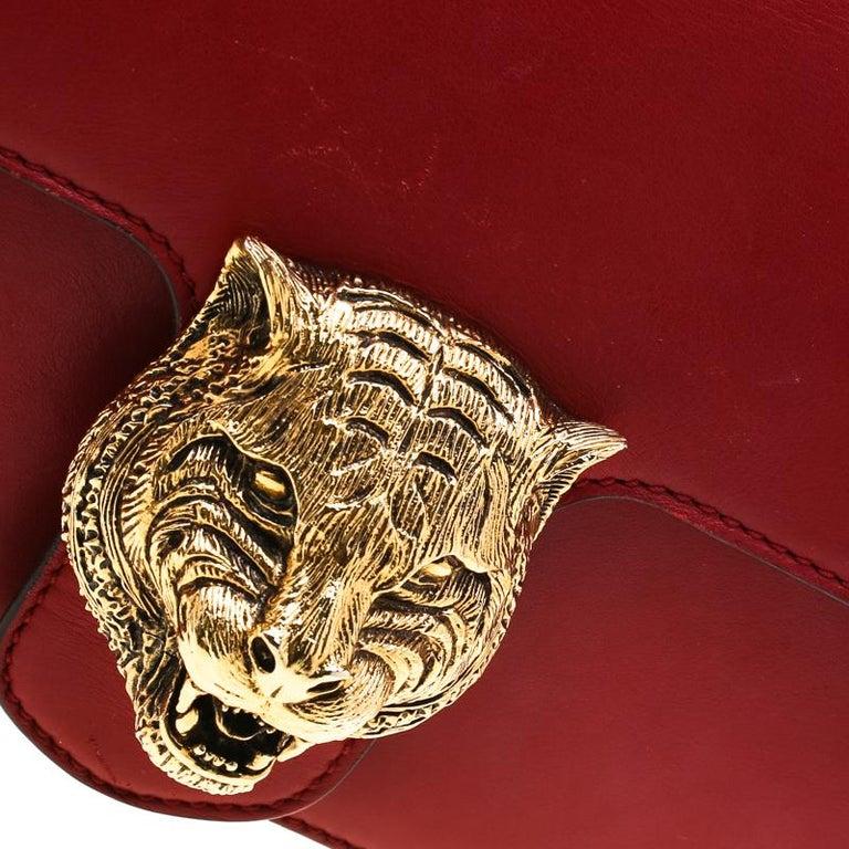 Gucci Red Leather Animalier Shoulder Bag For Sale 5