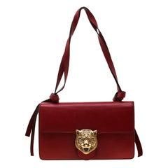 Gucci Red Leather Animalier Shoulder Bag