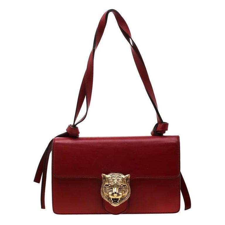 Gucci Red Leather Animalier Shoulder Bag For Sale