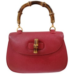 Gucci Red Leather Bamboo Bag