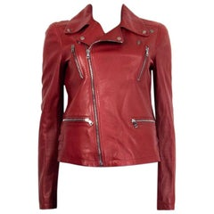 GUCCI red leather BIKER MOTORCYCLE Jacket 42 M