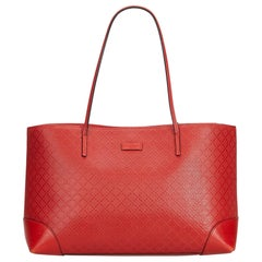 Gucci Red  Leather Diamante Hilary Lux Tote Bag Italy