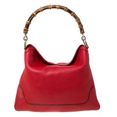 Gucci Red Leather Diana Bamboo Handle Shoulder Bag