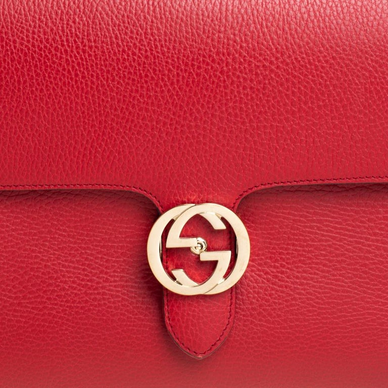 Gucci Red Leather Dollar Interlocking G Top Handle Bag For Sale 6