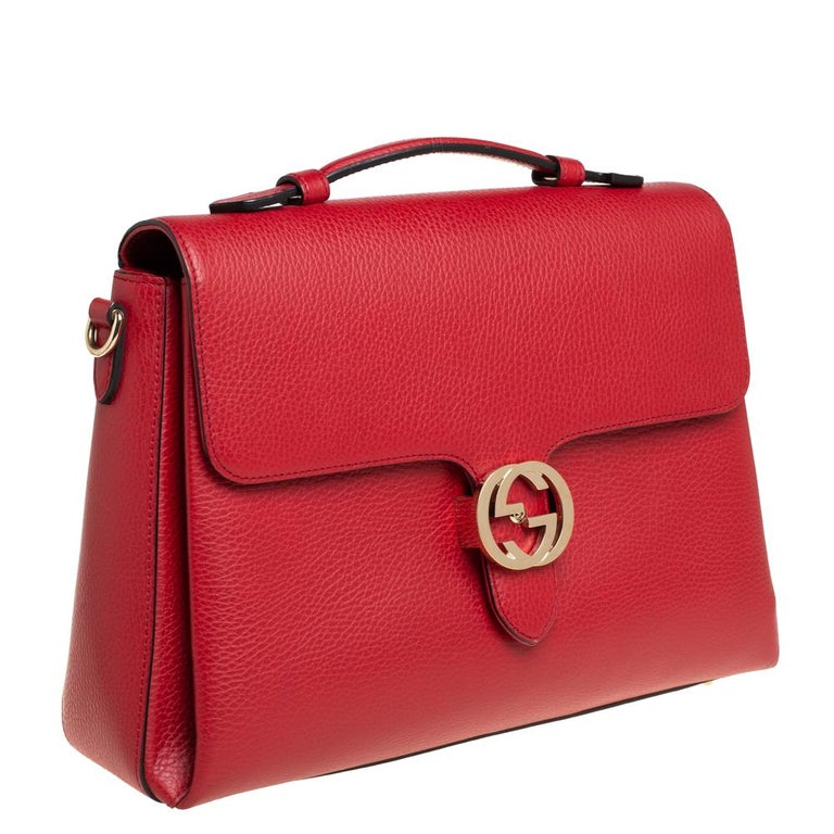 Gucci Red Leather Dollar Interlocking G Top Handle Bag In Good Condition For Sale In Dubai, Al Qouz 2