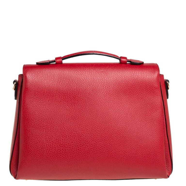 Women's Gucci Red Leather Dollar Interlocking G Top Handle Bag For Sale