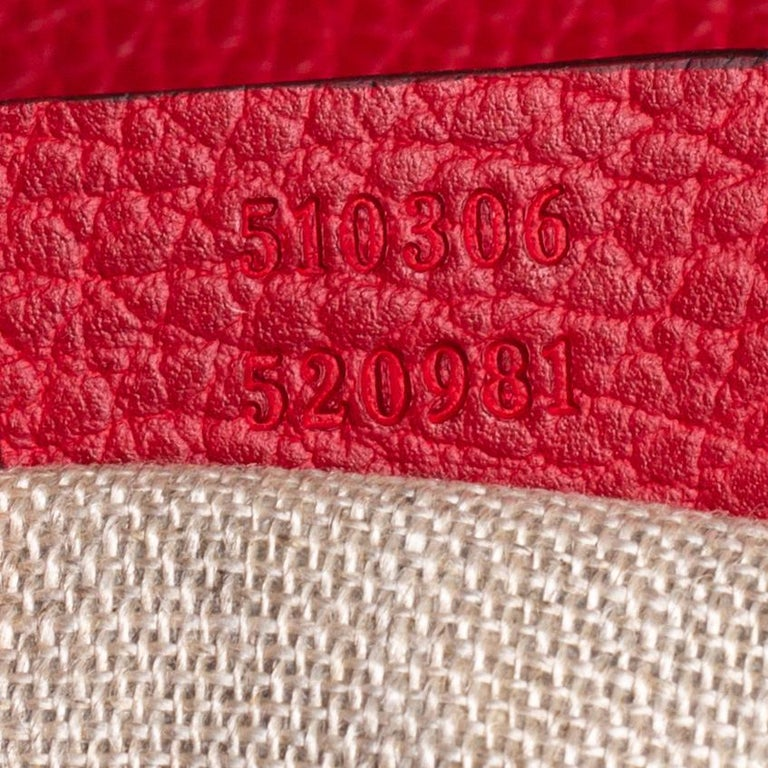 Gucci Red Leather Dollar Interlocking G Top Handle Bag For Sale 2