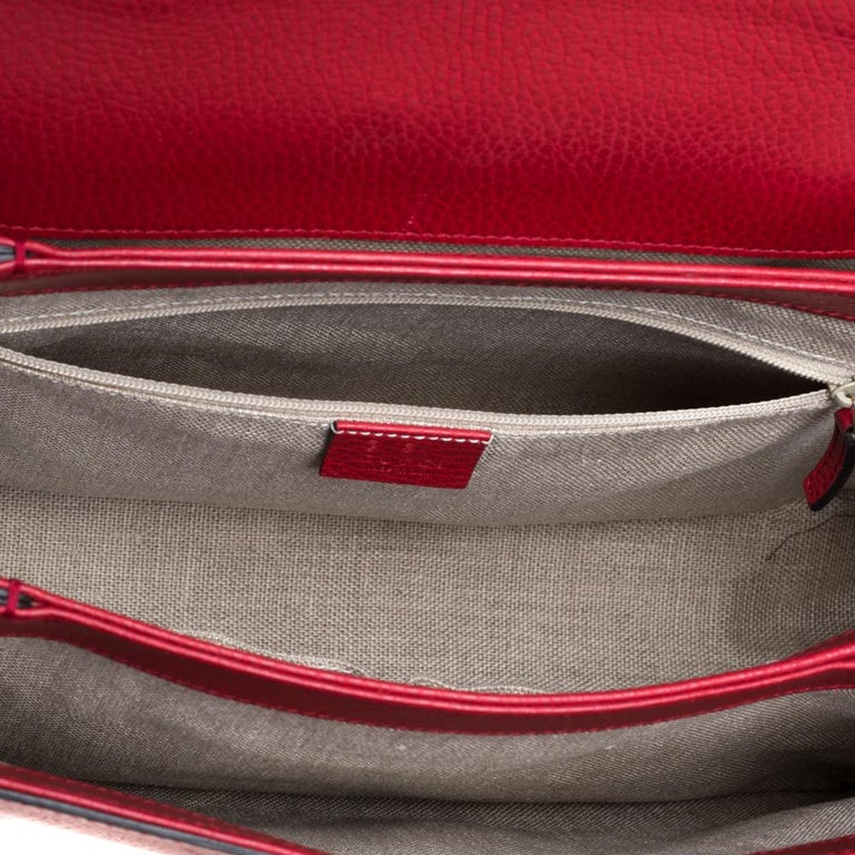Gucci Red Leather Dollar Interlocking G Top Handle Bag For Sale 4