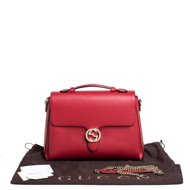 Gucci Red Leather Dollar Interlocking G Top Handle Bag For Sale 5