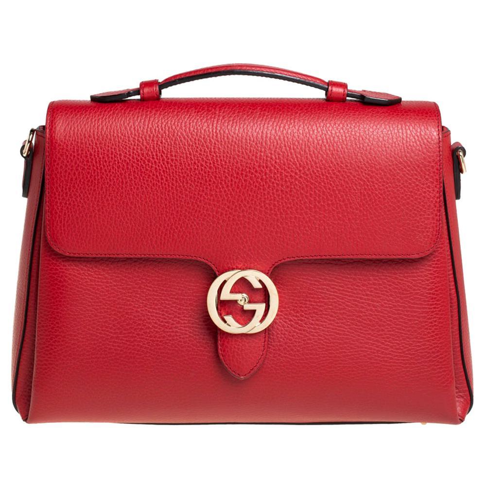 Gucci Red Leather Dollar Interlocking G Top Handle Bag