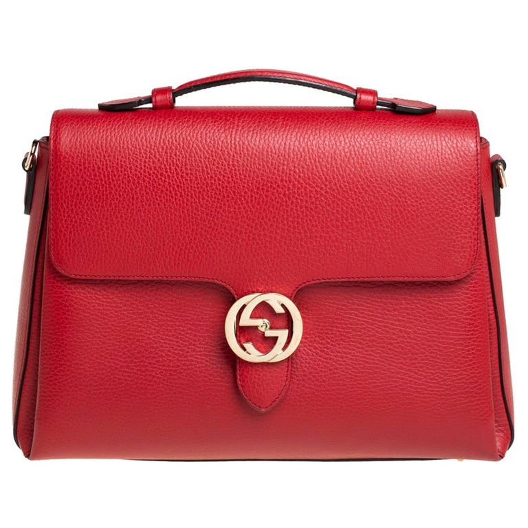 Gucci Red Leather Dollar Interlocking G Top Handle Bag For Sale
