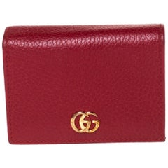 Gucci Red Leather GG Marmont Card Case