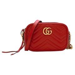 Gucci Red Leather GG Marmont Matelasse Mini Crossbody Bag
