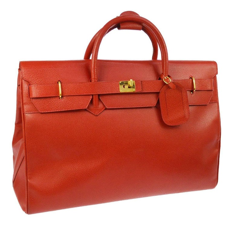 Gucci Red Leather Gold Men's Travel Weekender Top Handle Tote Bag