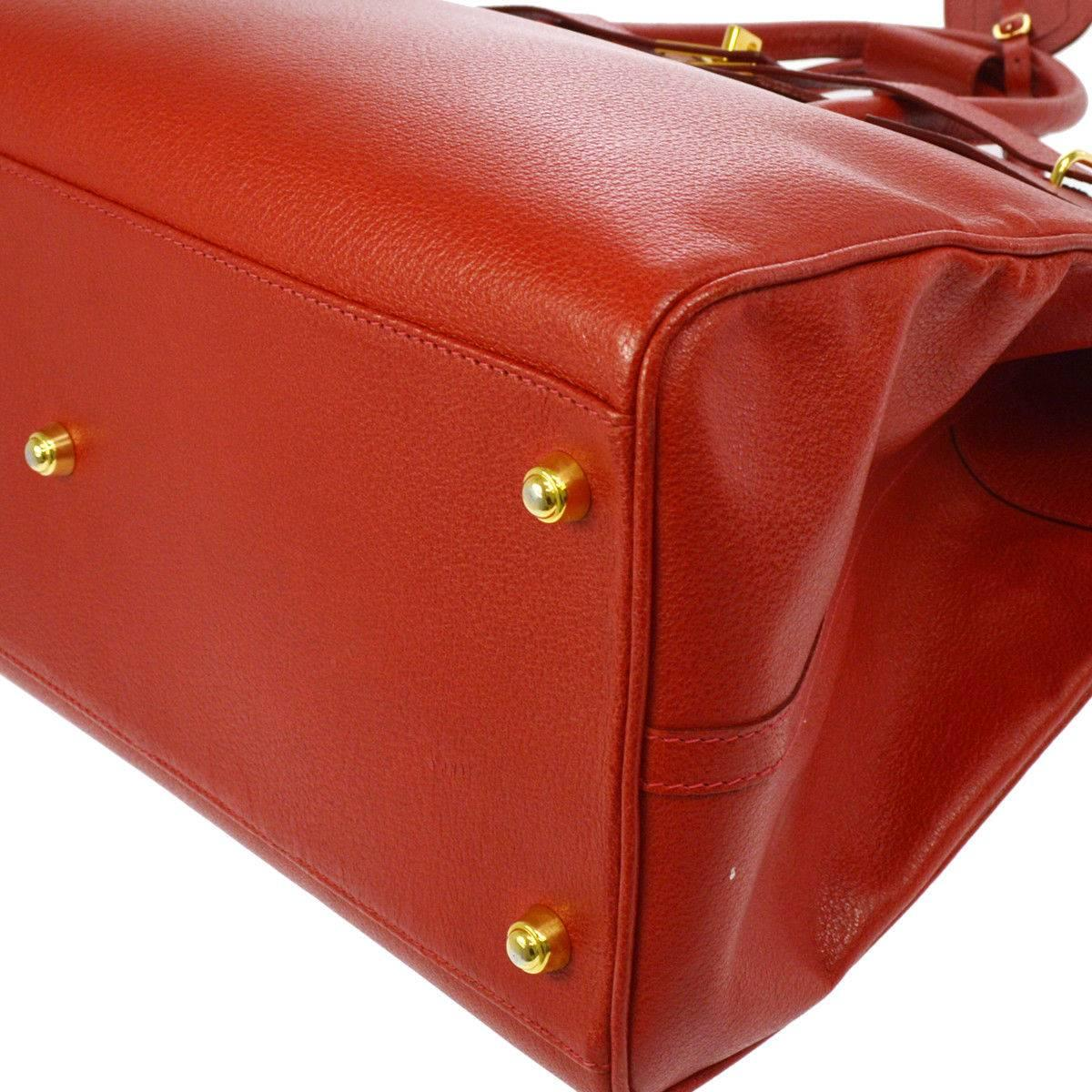 Gucci Red Leather Large Carryall Birkin Style Travel Weekender Top Handle Bag B1bZPJzrS