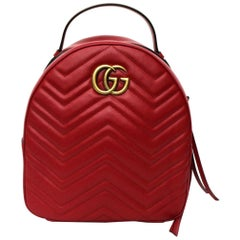 Gucci Red Leather Marmont Backpack