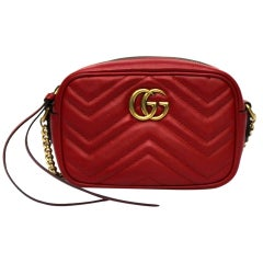 Gucci Red Leather Marmont Bag