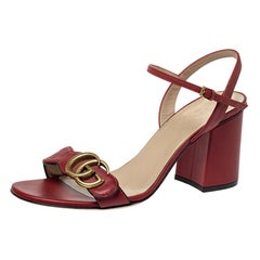 Gucci Red Leather Marmont Block Heel Ankle Strap Sandals Size 38