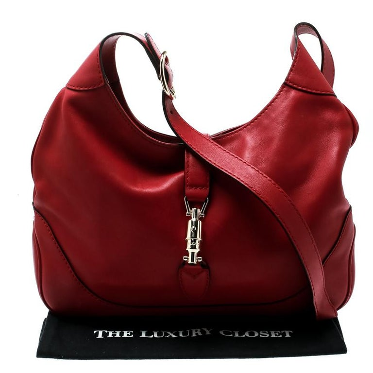 Gucci Red Leather Medium New Jackie Hobo For Sale 6