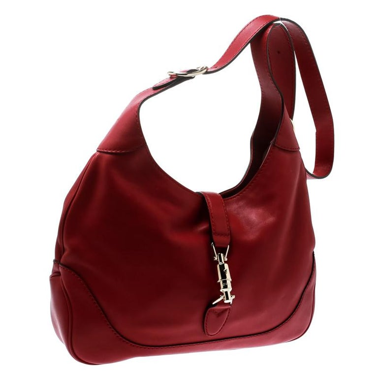Gucci Red Leather Medium New Jackie Hobo In Good Condition For Sale In Dubai, Al Qouz 2