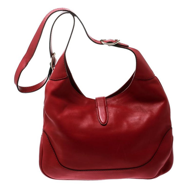 Women's Gucci Red Leather Medium New Jackie Hobo For Sale