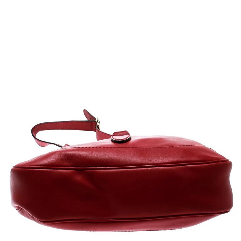 Gucci Red Leather Medium New Jackie Hobo For Sale 4
