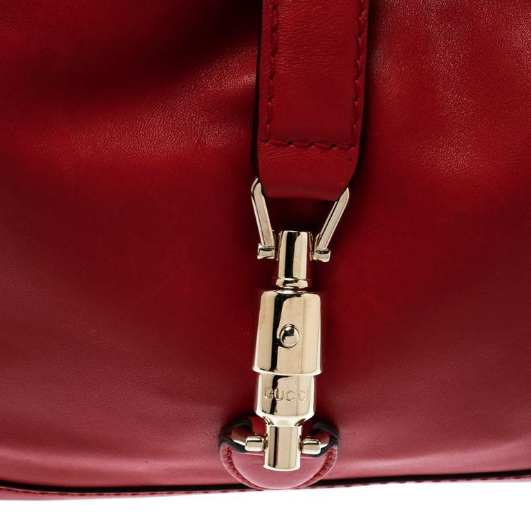 Gucci Red Leather Medium New Jackie Hobo For Sale 5