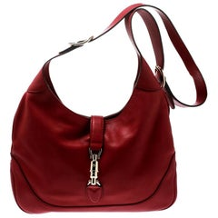 Gucci Red Leather Medium New Jackie Hobo