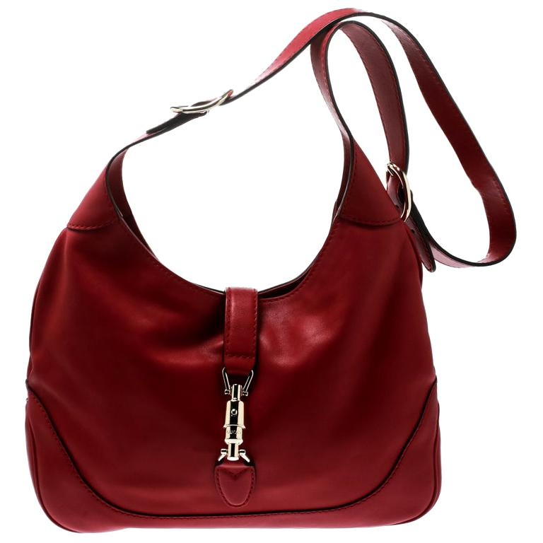 Gucci Red Leather Medium New Jackie Hobo For Sale