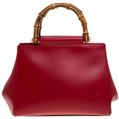 Gucci Red Leather Medium Nymphaea Bamboo Tote