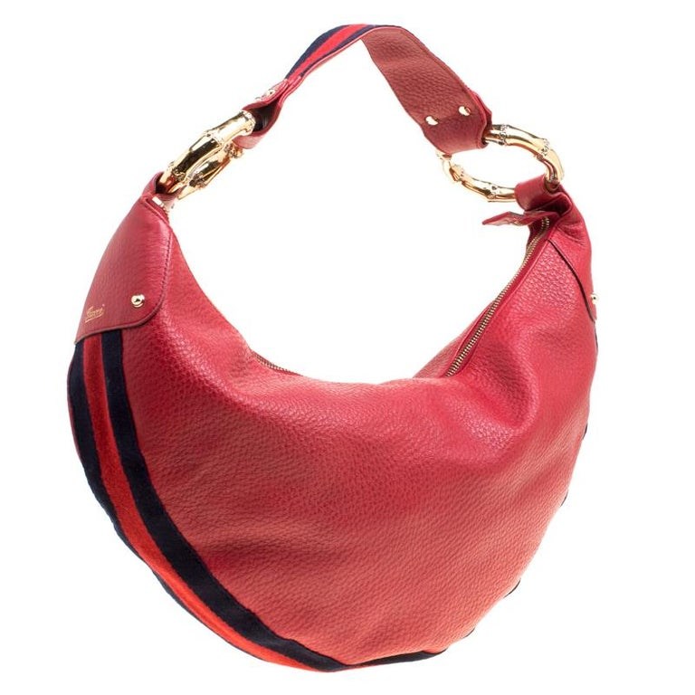 Gucci Red Leather Medium Web Bamboo Ring Hobo For Sale 6