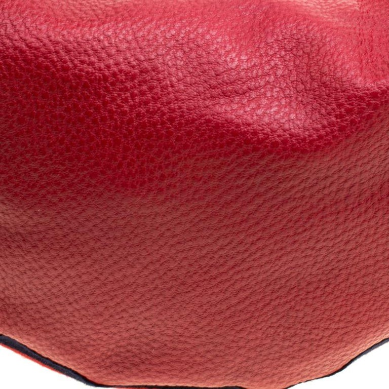 Gucci Red Leather Medium Web Bamboo Ring Hobo For Sale 7