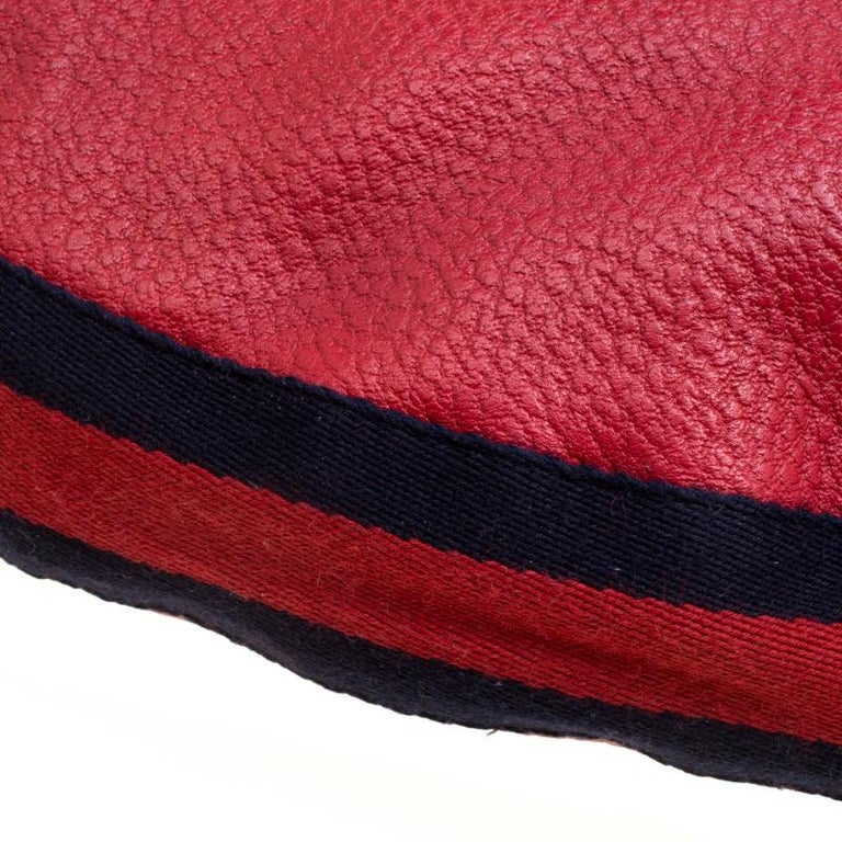 Gucci Red Leather Medium Web Bamboo Ring Hobo For Sale 4