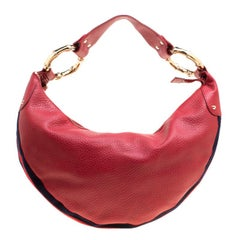 Gucci Red Leather Medium Web Bamboo Ring Hobo