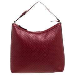 Gucci Red Leather Microguccissima Hobo