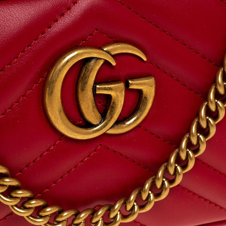 Gucci Red Leather Mini GG Marmont Chain Shoulder Bag 6