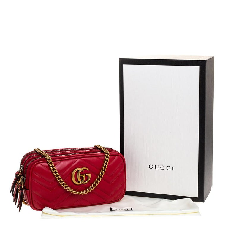 Gucci Red Leather Mini GG Marmont Chain Shoulder Bag 9